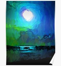 Moon in a Blue and Green Sky and on the Sea 1 Poster