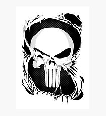 Punisher Skull Within Ripped Fabric Photographic Print