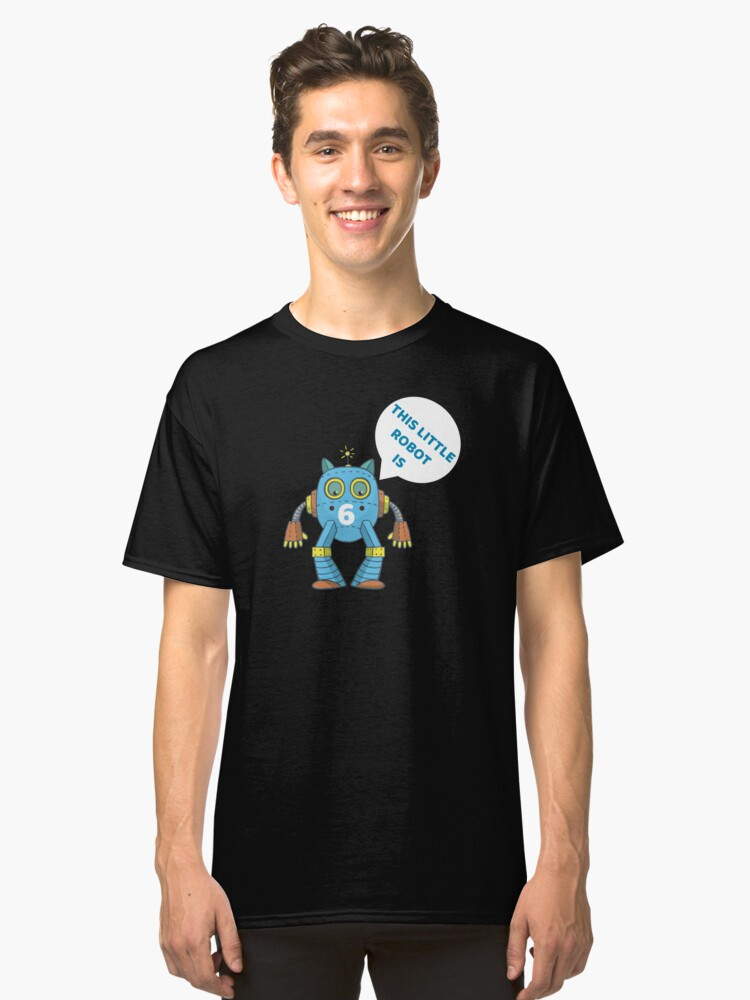 Kids 6th Birthday Boys Robot Science 6 Year Old Gift Classic T-Shirt Front