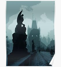 Gothic Prague - Charles bridge Poster