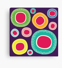 Happy Circle in Purple Background Canvas Print