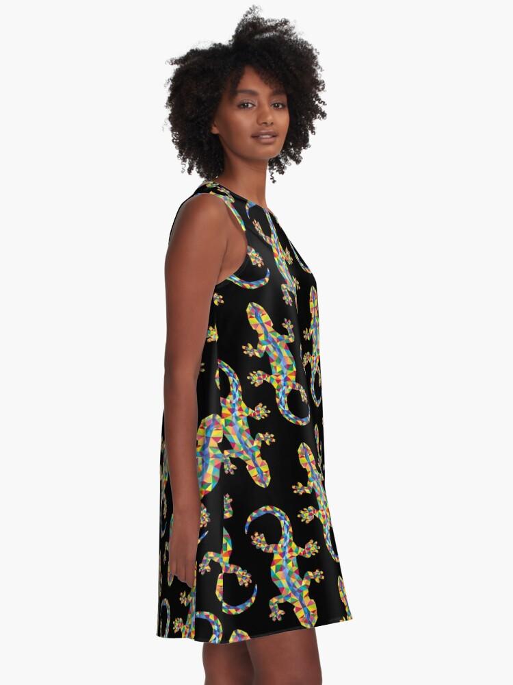 Alternative Ansicht von Vivid Barcelona Stadt Eidechse A-Linien Kleid