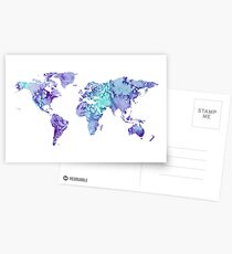 World Map: purple and green watercolor design  Postcards