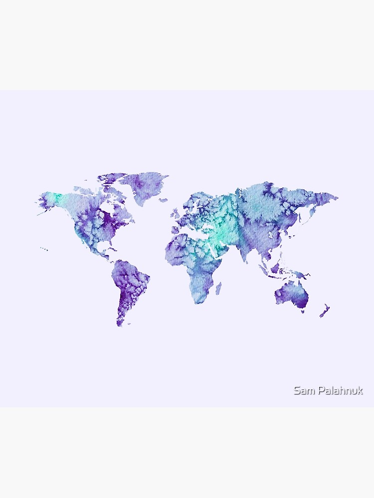 World Map: purple and green watercolor design  by sampalahnukart