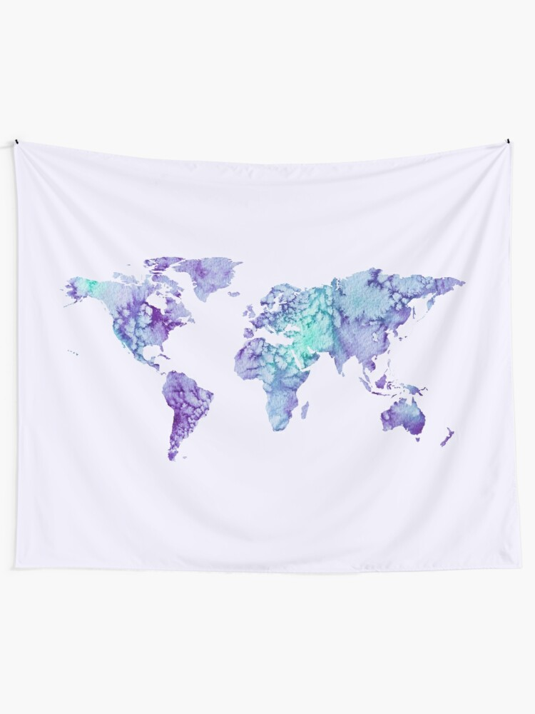 Alternate view of World Map: purple and green watercolor design  Wall Tapestry