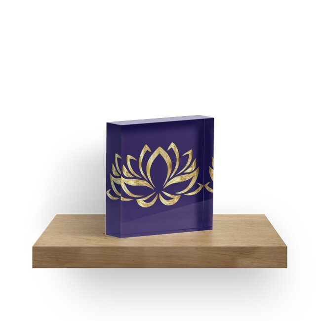 The Golden Lotus on navy by Alexandra Dahl