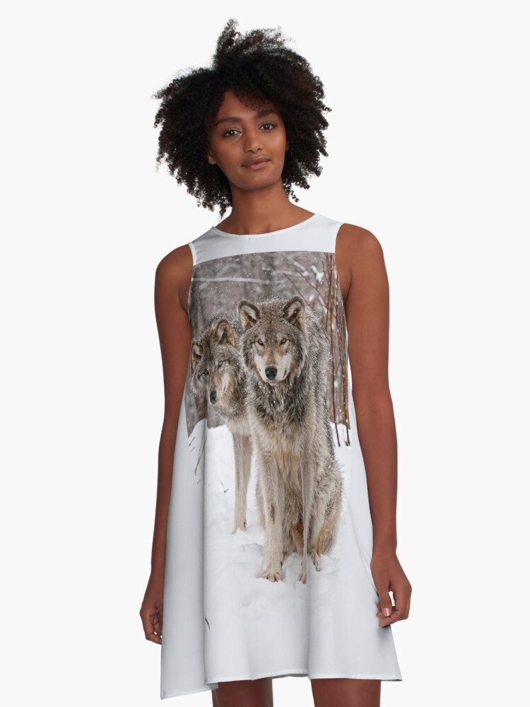 Timber Wolf Pair A-Line Dress Front
