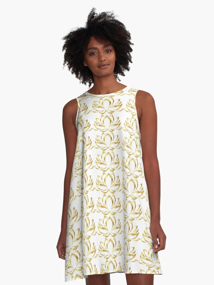 The Golden Lotus on white A-Line Dress Front