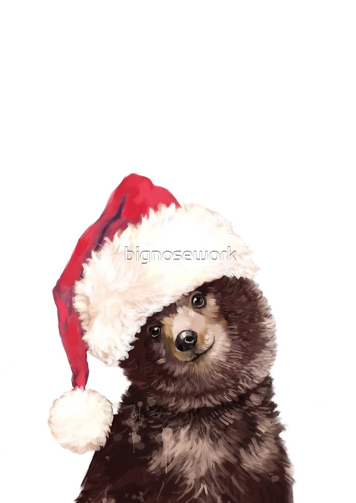 Baby Bear with Christmas Hat by bignosework