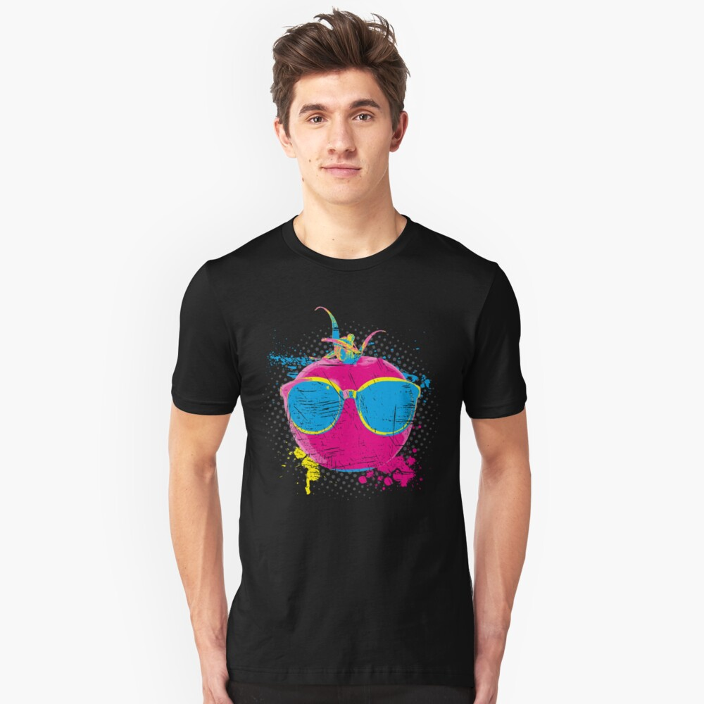 Pop Art Tomato > Neon Colored Vegetable > Funny Tomato Unisex T-Shirt Front