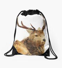 Winter Red Deer Drawstring Bag