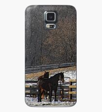 Horses in Snowy Pasture Case/Skin for Samsung Galaxy