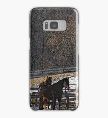 Horses in Snowy Pasture Samsung Galaxy Case/Skin