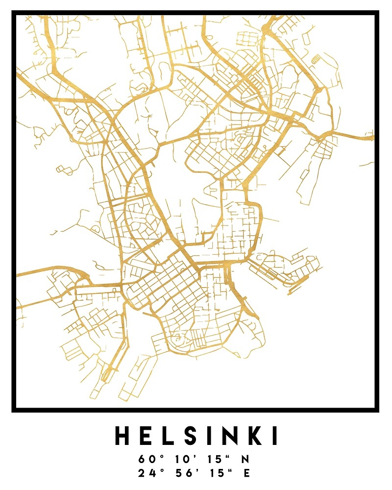HELSINKI FINLAND CITY STREET MAP ART by deificusArt
