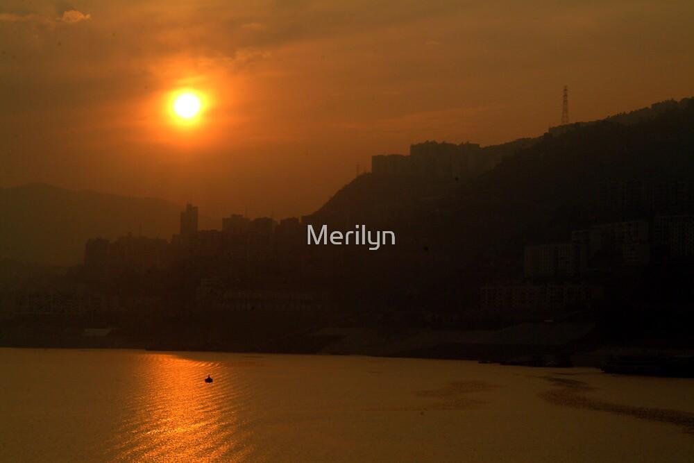 Smoggy Sunset by Merilyn