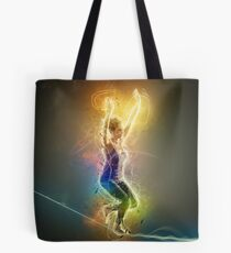 Digitally enhanced image of a woman Slacklining  Tote Bag
