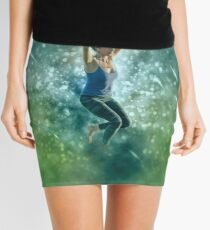 Digitally enhanced image of a woman Slacklining  Mini Skirt