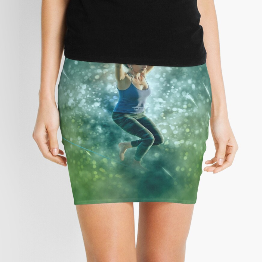 Digitally enhanced image of a woman Slacklining  Mini Skirt Front