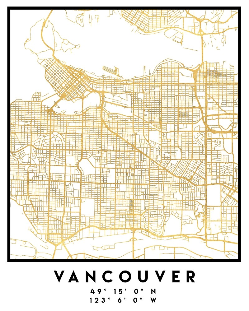 VANCOUVER CANADA CITY STREET MAP ART by deificusArt