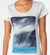 Watercolor landscape sky clouds Women's Premium T-Shirt