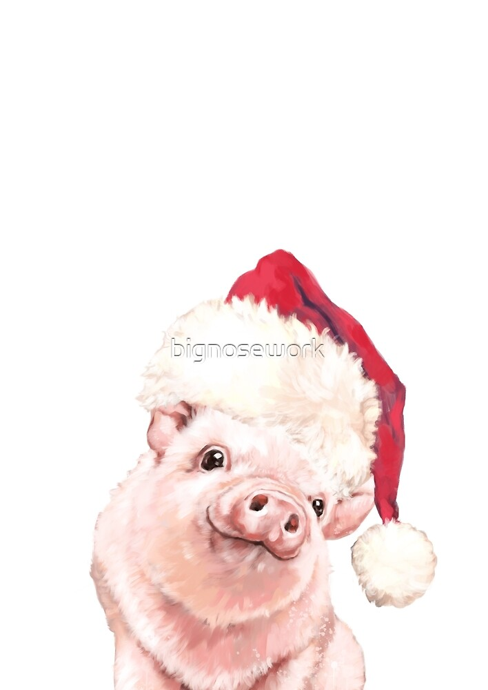 Christmas Baby Pink Pig by bignosework