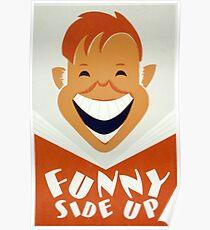 Vintage Retro Funny Side up Face  Poster