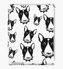 bull terrier pattern background - bull terrier dog cartoon iPad Case/Skin
