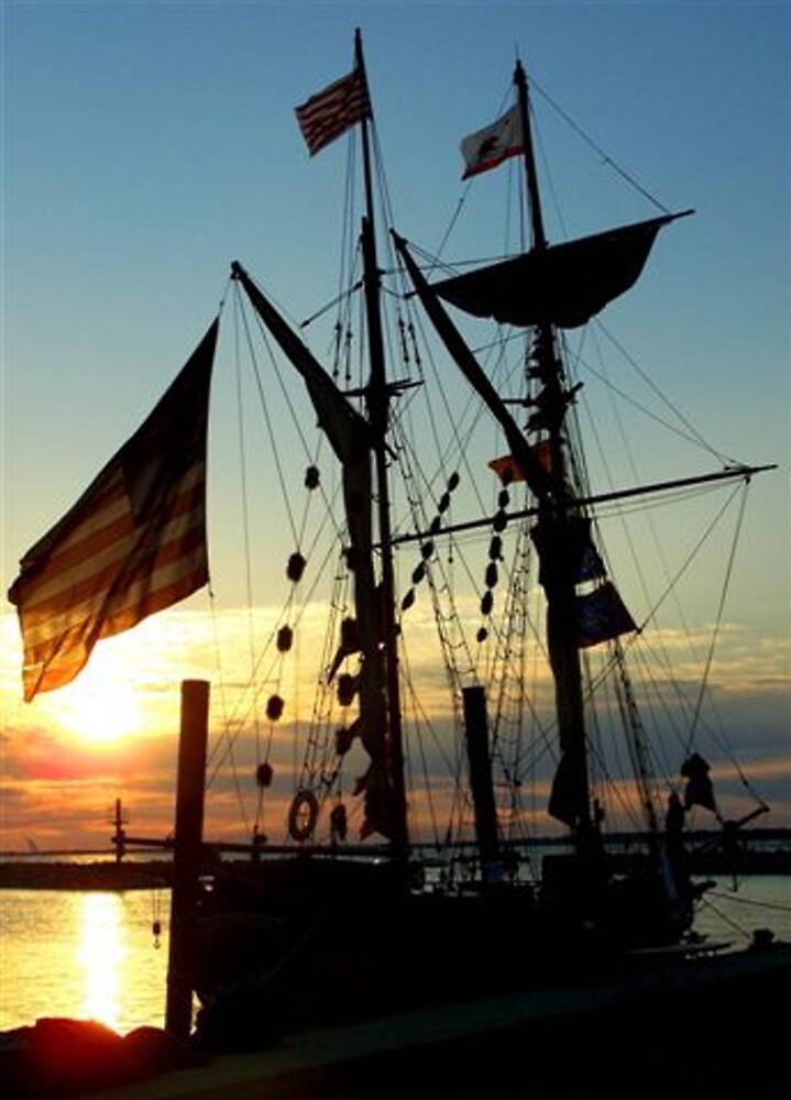 Tall Ship At Sunset  by jillybean