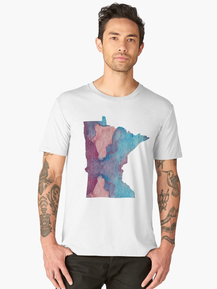 Colorful minnesota silhouette Men's Premium T-Shirt Front