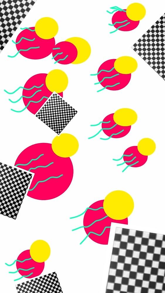 80's abstract memphis milano tropical retro design by neonmoonwaves