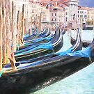 Gondolas Ready In Venice Italy by daphsam