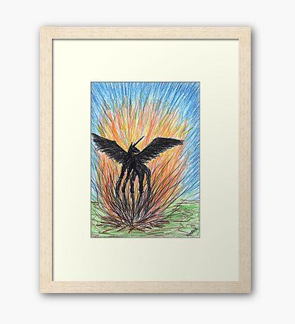 2209 - Black Unicorn within Sea of Fire Framed Print