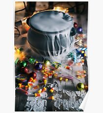 Halloween: Candy Surrounds Cauldron With Magic Potion Poster