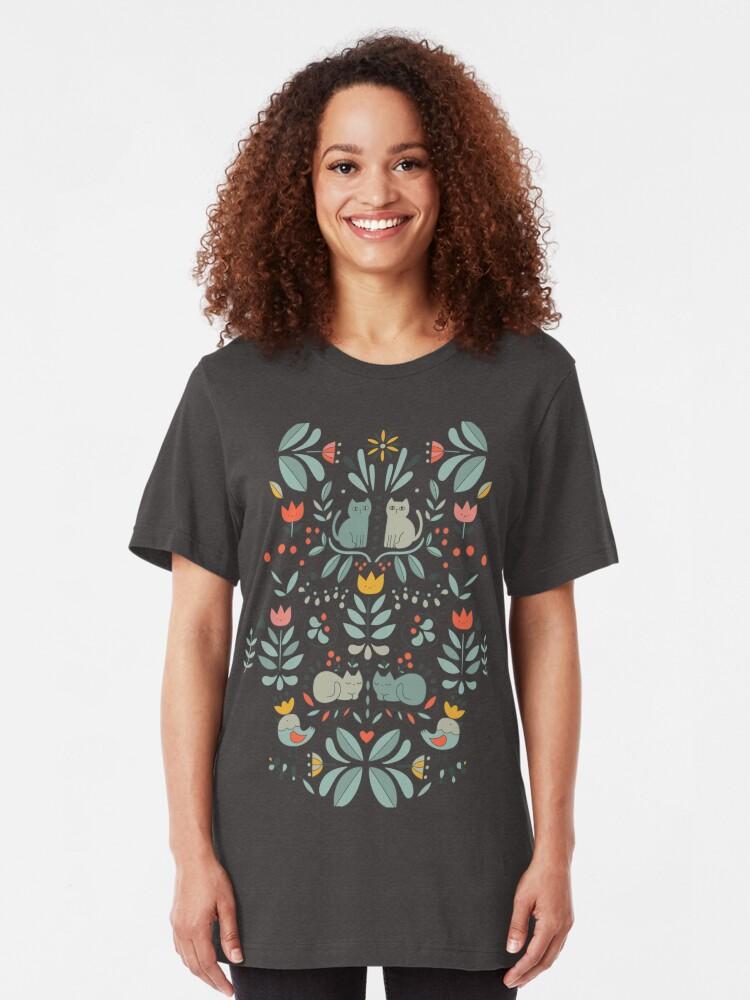 Alternate view of Swedish Folk Cats Slim Fit T-Shirt