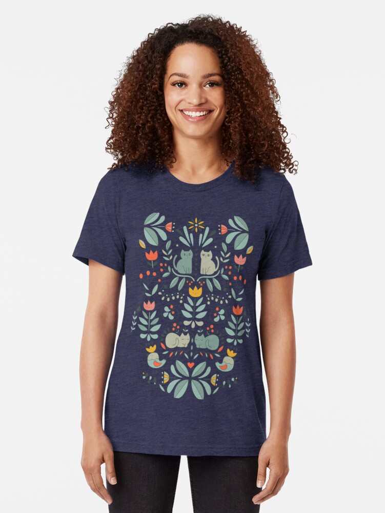 Alternate view of Swedish Folk Cats Tri-blend T-Shirt