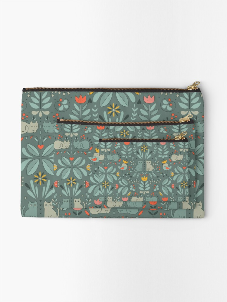 Alternate view of Swedish Folk Cats Zipper Pouch