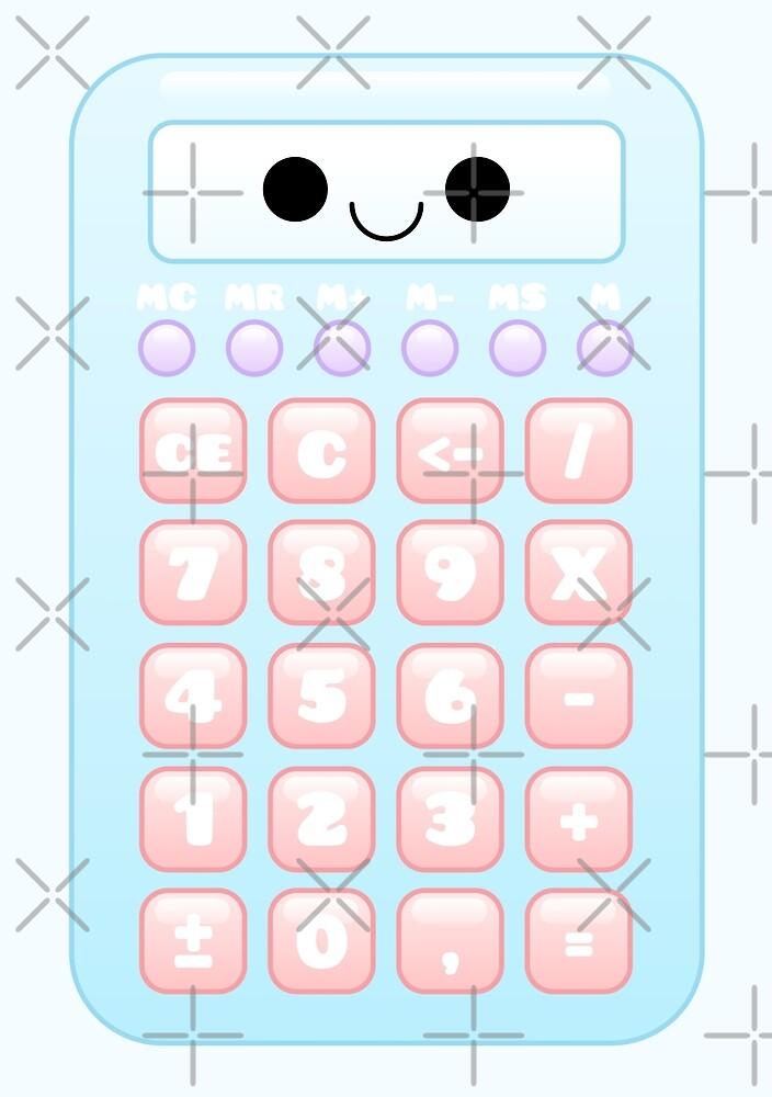 kawaii blue calculator by kittybox