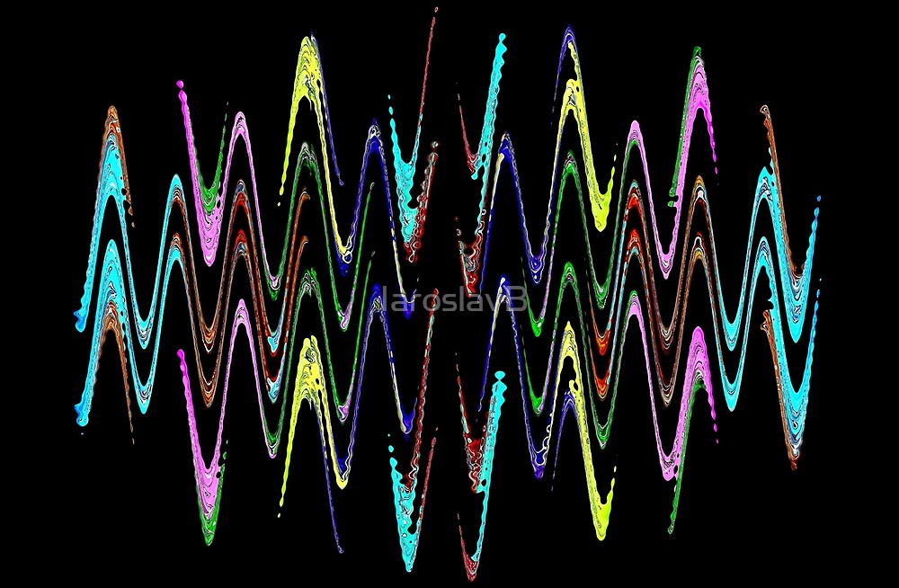 Multicolored abstract spirals and waveform pattern on black. by IaroslavB