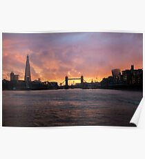 Silhouette of Tower Bridge London at Sunset Poster