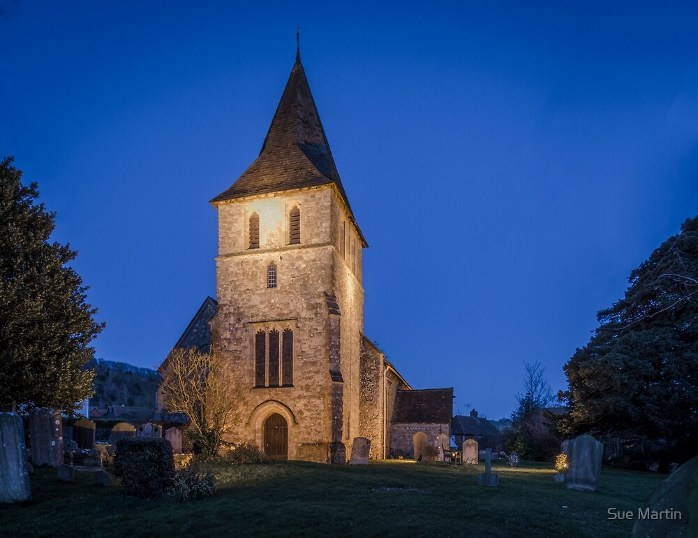 Detling Church at Night, Kent, UK by Sue Martin