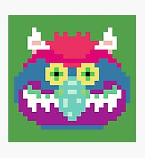 My Pet Monster in Green - 8 bit, Geometric, Block, Square, Gray, Purple, Pink, Hot, Teal, Mint, Vintage, Retro, Inspired, 80s, Baby, Blue, Yellow, Coral Photographic Print