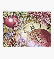 Clock face and christmas balls. Photographic Print