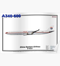 Airbus A340-600 - China Eastern Airlines (Art Print) Poster
