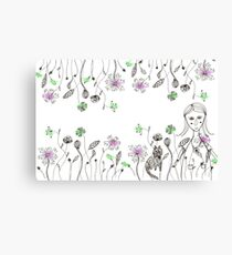 flowers girl cat Canvas Print