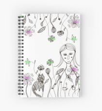 flowers girl cat Spiral Notebook