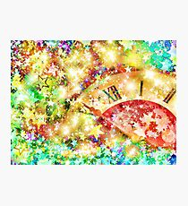 Clock face on multicolored shining stars background. Photographic Print
