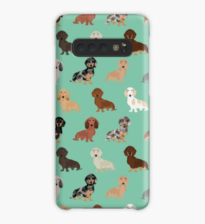 Dachshund dog breed pattern dapple merle black and tan coat colors Case/Skin for Samsung Galaxy