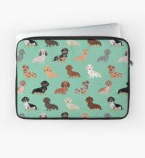 Dachshund dog breed pattern dapple merle black and tan coat colors Laptop Sleeve