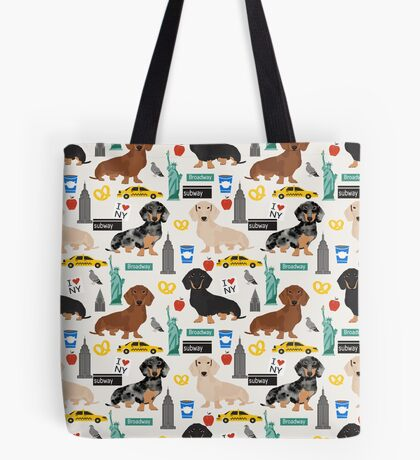 Dachshund dog breed NYC new york city pattern dapple merle black and tan coat colors Tote Bag
