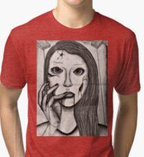 Broken Ceramic Marionette Doll Tri-blend T-Shirt